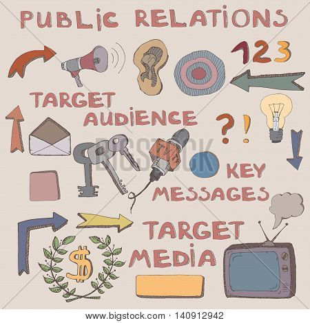 Color hand drawn sketch of public relations signs and symbols. Can be used as icons or illustrations to liven up your presentation. Features target audience, key messages, target media.