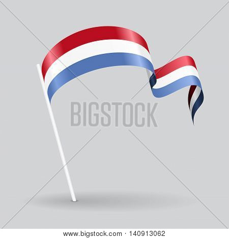 Luxembourg pin icon wavy flag. Vector illustration.