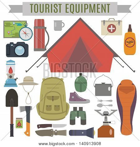 tourist equipment. Set for hiking and survival in the wild