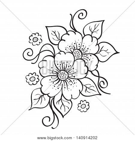 Abstract hand drawn flowers, sketch, stencil, black color