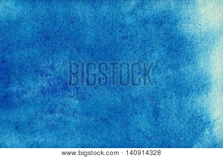 Sky blue watercolor abstract background for your design. Abstract hand drawn template with rough edges. Painted texture with watercolour stain.