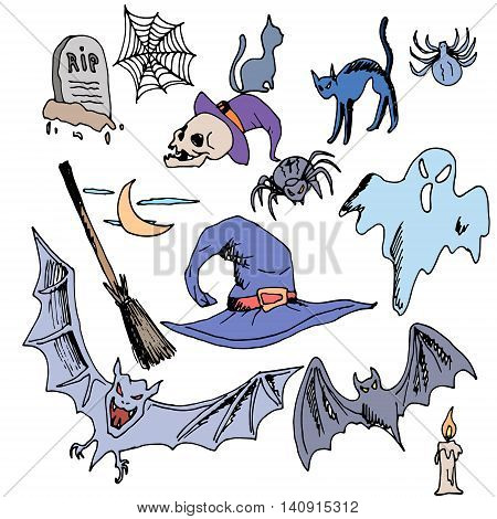 Vector seamless pattern for Halloween. ghost, bat, skull, brooms, spiders, cobwebs, candle, grave and other items on Halloween theme. Bright cartoon pattern for Halloween
