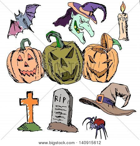 Vector seamless pattern for Halloween. Pumpkin, ghost, spiders, candles, cap, monument, grave and other items on Halloween theme. Bright cartoon pattern for Halloween
