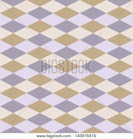 Geometric varicolored seamless pattern. Elegant laconic ornament of rhombuses with small translucent elements. Classic sweater print in preppy style. Vector illustration for fabric, paper and other