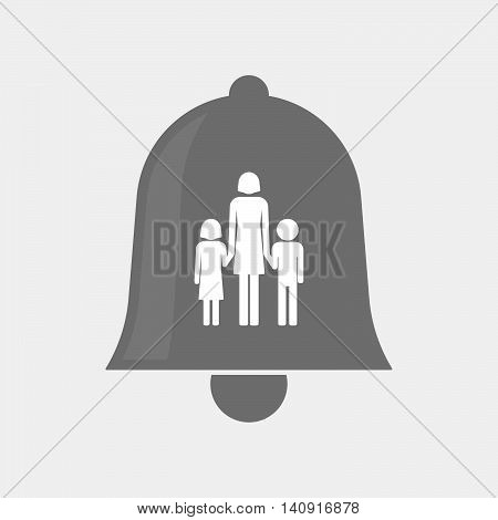 Isolated Bell Icon With A Female Single Parent Family Pictogram