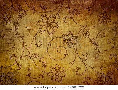 Papel floral vintage con efecto grunge