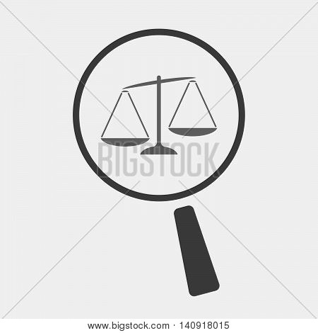 Isolated Magnifier Icon With  An Unbalanced Weight Scale