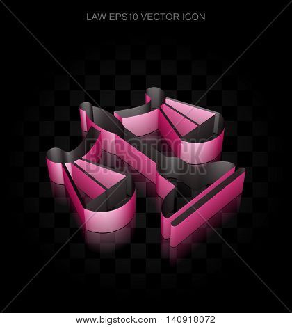 Law icon: Crimson 3d Scales made of paper tape on black background, transparent shadow, EPS 10 vector illustration.