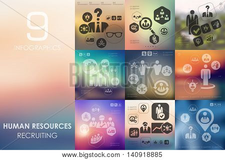 human resources vector infographics with unfocused blurred background
