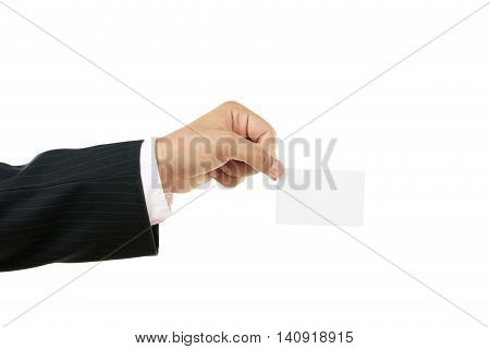 Businessman Holding Blank Card In His Hand On White Background