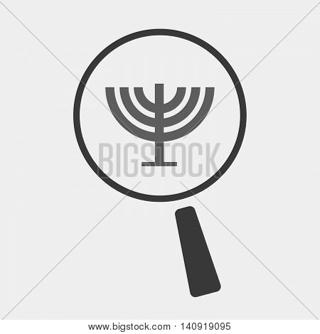 Isolated Magnifier Icon With A Chandelier