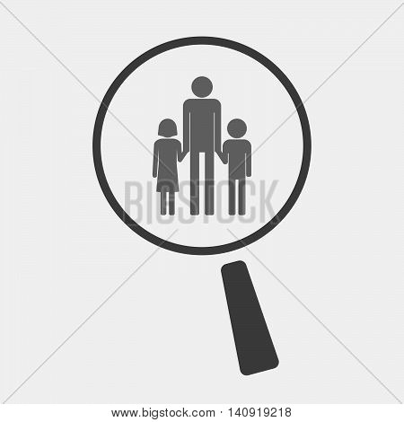 Isolated Magnifier Icon With A Male Single Parent Family Pictogram