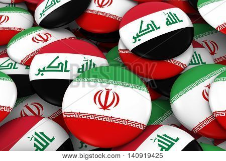 Iran And Iraq Badges Background - Pile Of Iranian And Iraqi Flag Buttons 3D Illustration
