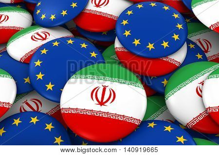Iran And Europe Badges Background - Pile Of Iranian And European Flag Buttons 3D Illustration