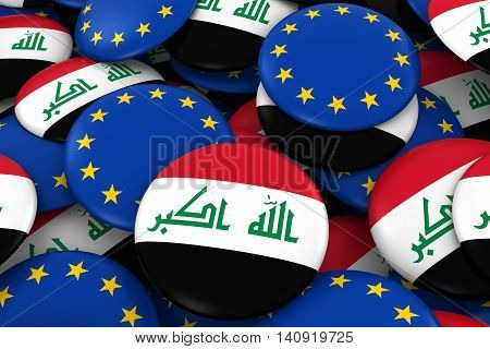 Iraq And Europe Badges Background - Pile Of Iraqi And European Flag Buttons 3D Illustration