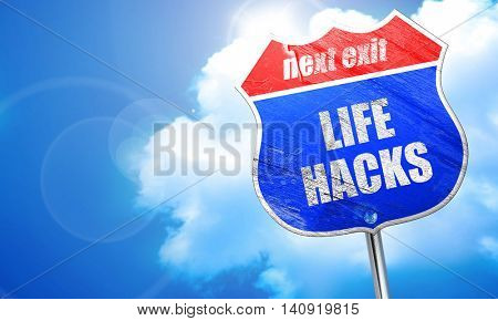 life hacks, 3D rendering, blue street sign