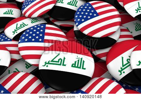 Iraq And Usa Badges Background - Pile Of Iraqi And Us Flag Buttons 3D Illustration