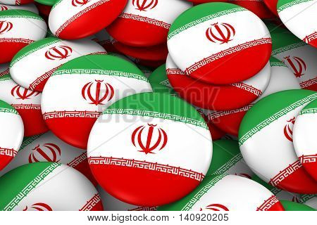 Iran Badges Background - Pile Of Iranian Flag Buttons 3D Illustration