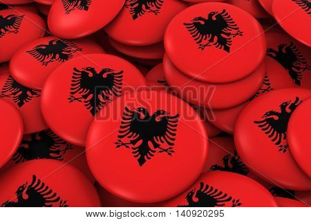 Albania Badges Background - Pile Of Albanian Flag Buttons 3D Illustration