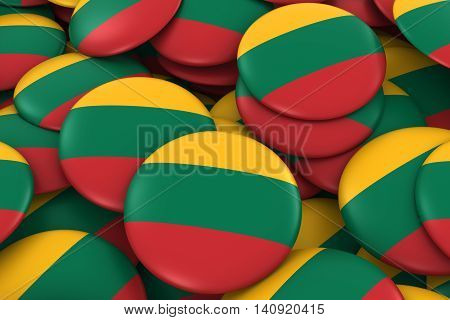 Lithuania Badges Background - Pile Of Lithuanian Flag Buttons 3D Illustration