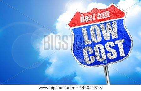 low cost, 3D rendering, blue street sign