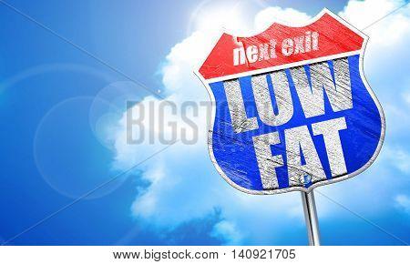 low fat, 3D rendering, blue street sign