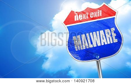 Malware computer background, 3D rendering, blue street sign