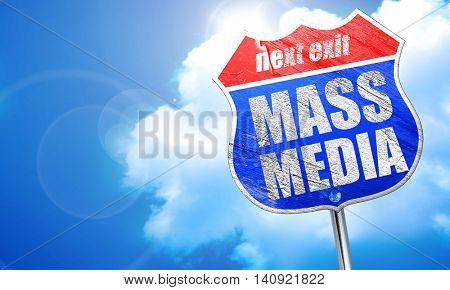 mass media, 3D rendering, blue street sign