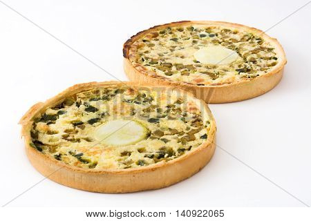 French quiche Lorraine with vegetables isolated on white background