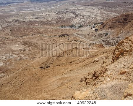 View of the archaeological site of the Roman garrison from fortress of Masada in the Judaean Desert, Israel