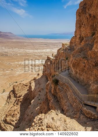 Masada - ancient fortification on top of an rock, overlooking the Dead Sea in the Judaean Desert, Israel