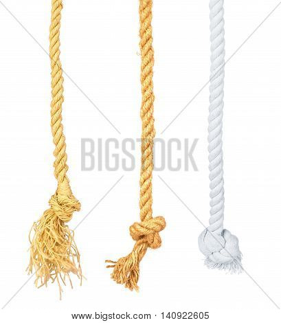 Set ship rope with knot isolated on white background