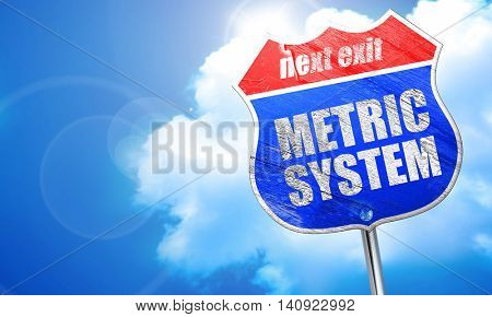 metric system, 3D rendering, blue street sign