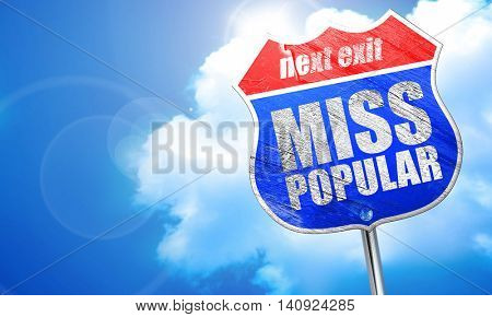 miss popular, 3D rendering, blue street sign