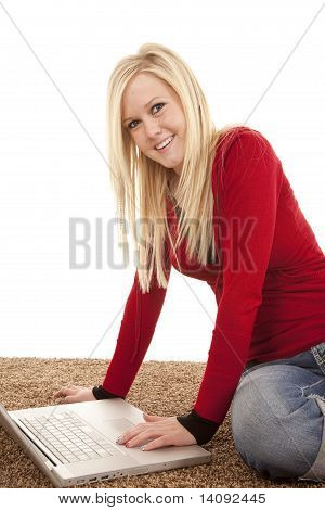 Red Shirt Woman Smile Laptop