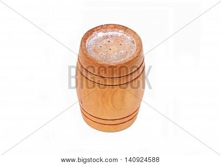 Vintage wooden saltcellar isolated on white background