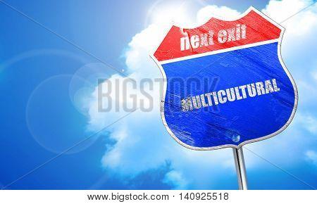multicultural, 3D rendering, blue street sign