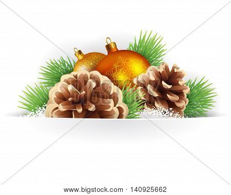 Banner winter background or card template with pine branches pine cones and Christmas balls vector background