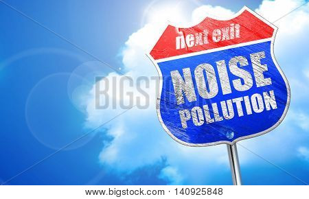 noise pollution, 3D rendering, blue street sign