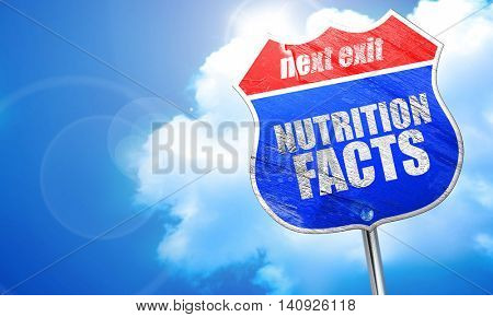nutrition facts, 3D rendering, blue street sign