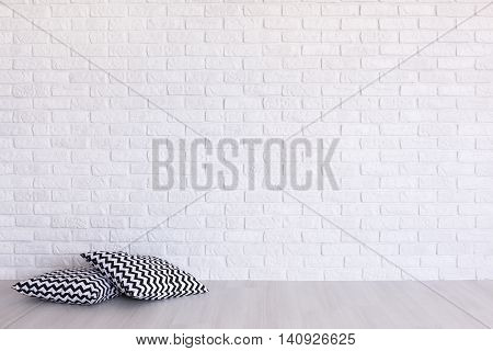 Interesting Print On The Background Of Brick Wall