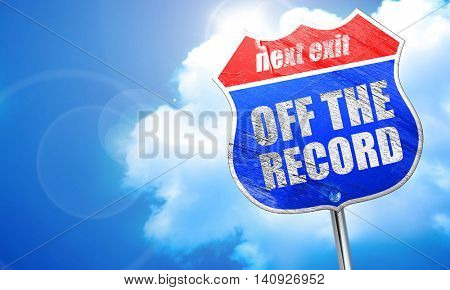 off the record, 3D rendering, blue street sign