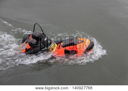 A tooled as diving firefighter with Seabob