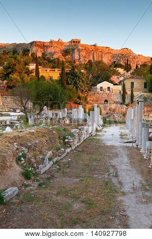 Remains of the Roman Agora and Acropolis in Athens, Greece.