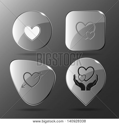 4 images: careful heart, and arrow, love in hands. Heart shape set. Glass buttons. Vector illustration icon.