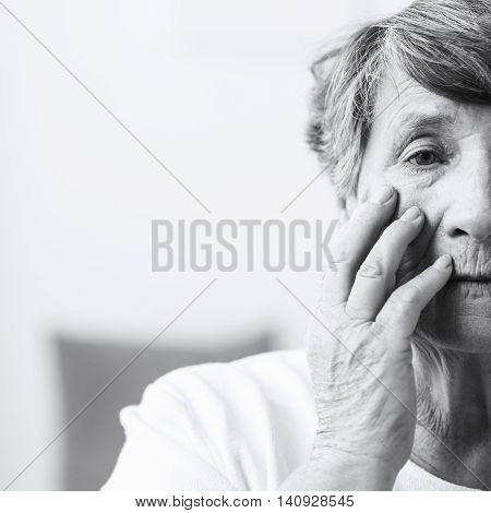 Senior Woman Suffering From Schizophrenia