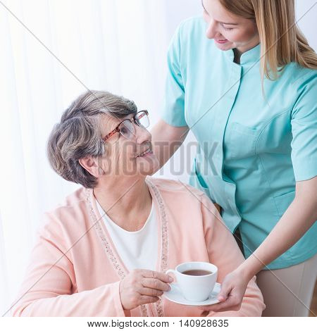 Rich Elderly Woman Having Care