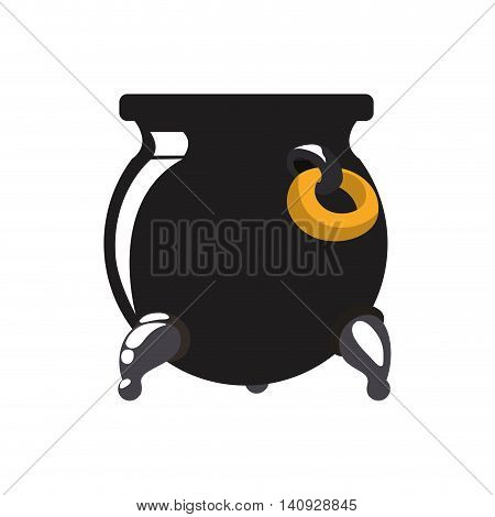 kitchen lucky concept represented by Black pot con. Isolated and flat illustration