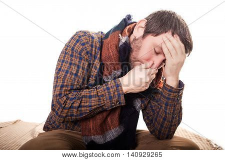 Closeup Portrait Of Sick Young Man Student, Worker, Employee With Allergy, Germs Cold, Blowing His N