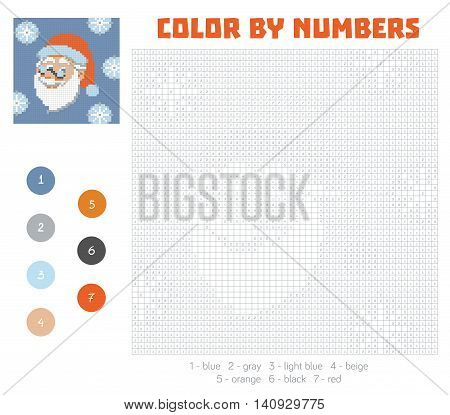 Color by number education game for children. Santa Claus face. Coloring book with numbered squares